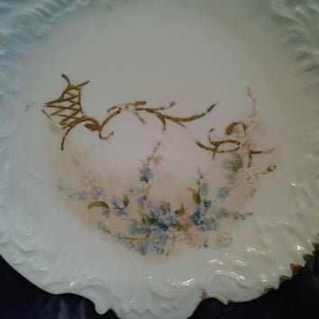Vintage China Limoges Blue Forget Me Nots, Small Plate, Dessert Plate, Bread Plate, Shabby Chic Cottage Style