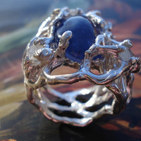 Chunky Ring - Sterling Silver Big Ring - Gorgeous Tanzanite Birthstone Ring - Engagement Ring K45