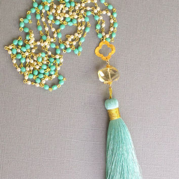 Boho Jewelry Long SILK Tassel Necklace Beaded Blue Green Pearl Turquoise Lemon Quartz Clover