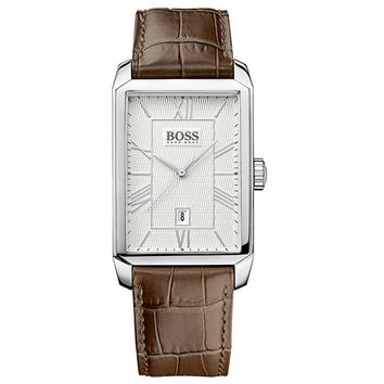 Hugo Boss 1512967 Men's Architecture Silver Dial Brown Leather Strap Quartz Watch