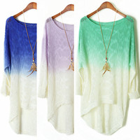 A 072920 Dye gradient long-sleeved bat dovetail sweater from MegaFashion
