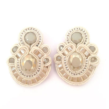 PLATINUM SPARKLE #soutache #clip-on #earrings in #cream and #champagne with Free International shipping
