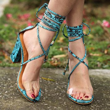 Fashion Women Classic High-Heel Strapping Large-Size Sandals High-Heeled Shoes Blue Serpentine