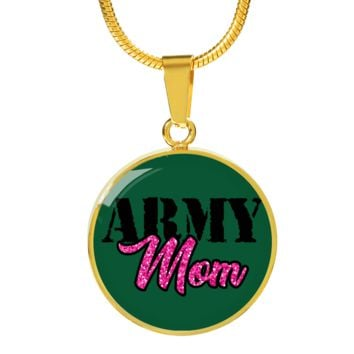 Army Mom Gold Luxury Circle Charm Necklace