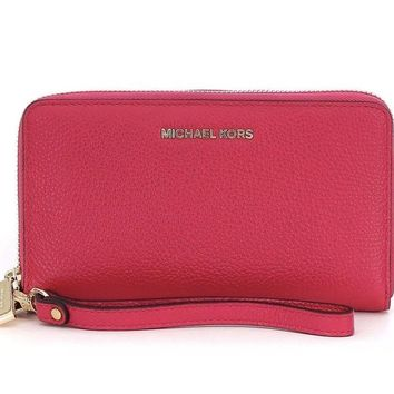 NWT Michael Kors MK Mercer Large Flat MF Phone Case Wristlet Wallet ULTRA PINK