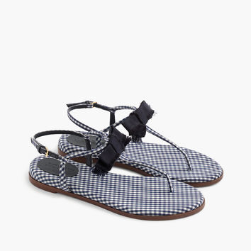 Gingham T-strap bow sandals