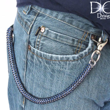 Blue and Silver Wallet Chain - Chainmaille Wallet Chain - Mens Gifts - Chain Wallets - Men's Accessories - Biker Chain Wallet
