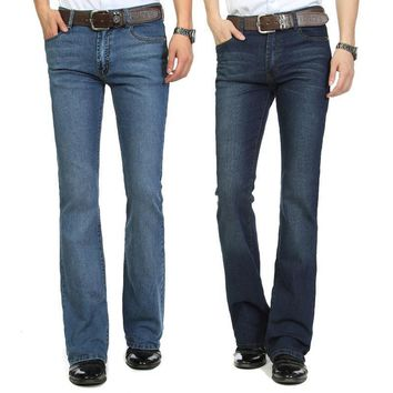 High Quality and Promotion 2014 male mid waist elastic slim boot cut semi-flared bell