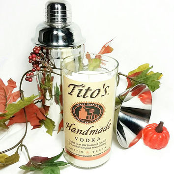 Recycled Tito's Handmade Vodka Bottle Scented Soy Wax Candle/Liquor Bottle Glass Candle/Toasted Pumpkin Spice Scent/Reclaimed Liquor Bottle