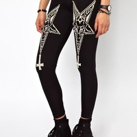 Harajuku Goth Gothic Lolita Dark Five Pointed Stars Dark Skinny Leggings from Tobi's Finds