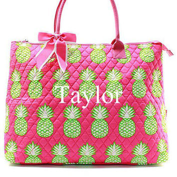 Monogrammed Tote Bag Pink Pineapple Monogrammed Tote Bag Quilted Large Tote Bag
