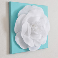 "Rose Wall Hanging- White Rose on Tiffany Blue Solid 12 x12"" Canvas Wall Art- 3D Felt Flower"