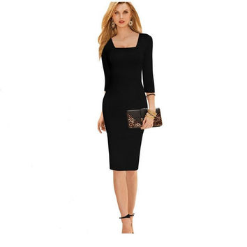 Spring black nine sleeves casual solid color nine points sleeves dress suture thin party dress professional women's pencil dress