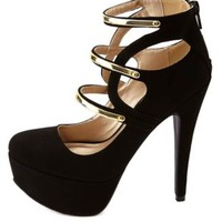 Qupid Gold-Plated Strappy Platform Pumps by Charlotte Russe - Black
