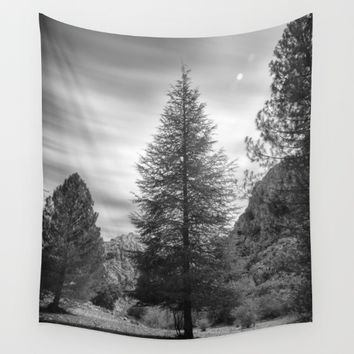"""Looking for the sky"" Into the woods... BW Wall Tapestry by Guido Montañés"