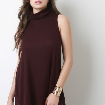 Sleeveless Turtleneck A-Line Top