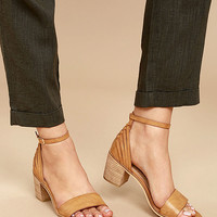 Sbicca Fars Tan Ankle Strap Heels