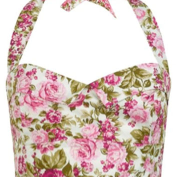The Halter Bodice - Pink Floral