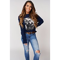 """""""Girls Night Out"""" Graphic Pullover Sweater (Navy)"""