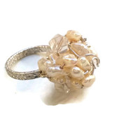 Freshwater Pearl Ring with Clear Crystals in Sterling Silver - Size 5 1/2 - RIN075