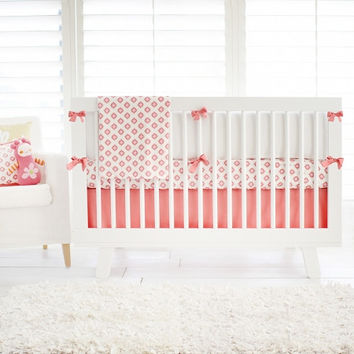 Aztec Baby in Pink & Gold Baby Bedding | Pink & White Crib Bedding