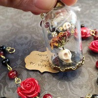 "Flower&Skull dome necklace: ""Contains Real Flower"""