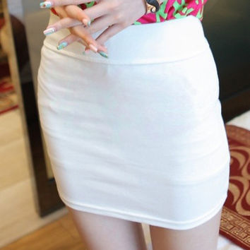 Solid Color Bandeau Mini Skirt