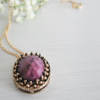 Victorian purple necklace- round elipse geometric- vintage look
