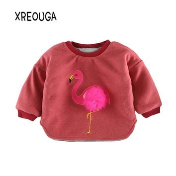 2017 New Baby Girls Flamingo Pompom Sweatshirt Cotton Thicken Infant Kids T Shirt Baby Boys Embroidery Sweater Tops Clothes EZ33