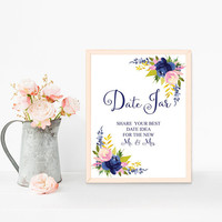 Date night jar sign printable, Date night jar ideas sign, Printable date jar sign download, Date night ideas signage, Navy blue wedding sign