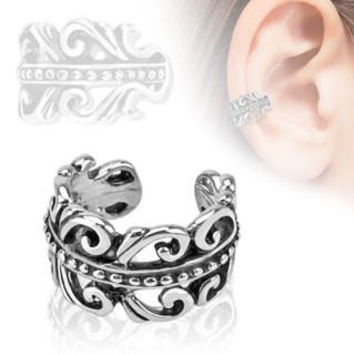 Urban Princess - Antiqued carved swirled design rhodium plated ear cuff