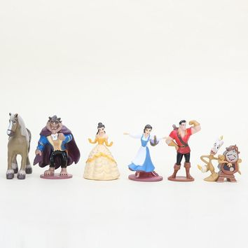 6pcs/set Cartoon movie cute baby toy Beauty and the Beast Princess Bella Beast PVC action Figures Collective Model Toys