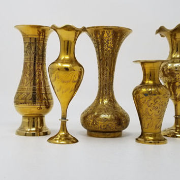 Vintage Brass Bud Vases India Brass Set of Five 4 to 6 Inch Vases