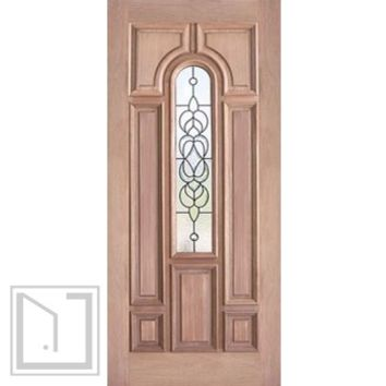 Decorative Center Arch Lite, Mahogany Single Entry Door, 36x80