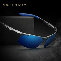Veithdia Aluminum Magnesium Semi rimless Sunglasses Polarized Men Coating Mirror Driving Sun Glasses Eyewear Accessories shades