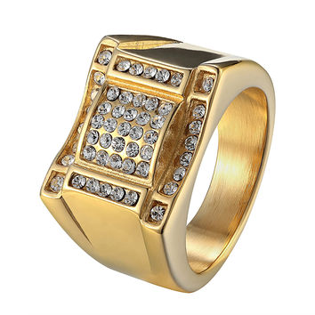 Stainless Steel Mens Pinky Ring Iced Out Simulated Diamonds Wedding Engagement