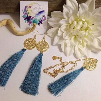 """""""Tassel me"""" Earring and Necklace Sold as a set or separately"""