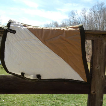 Bat Wing Saddle Pad Equestrian Baroque Style Two Toned Quilted All Purpose Western or Dressge Tan and White Swallow Tail