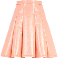 River Island Womens Coral high shine drop waist skater skirt