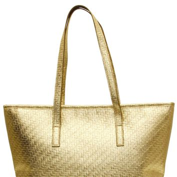 Champagne Gold Weave Insulated Lunch Tote Bag