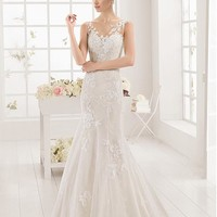 [163.99] Alluring Tulle Bateau Neckline Mermaid Wedding Dresses With Lace Appliques - dressilyme.com