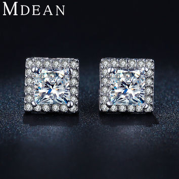 MDEAN Square White Gold Plated Stud Earrings CZ diamond Jewelry ddc73a3cdc