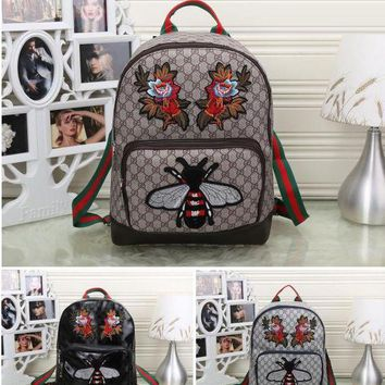 DCCKHB0 Gucci Women Fashion Leather Bee Flower Embroidery School Bookbag Backpack