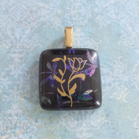 Gold Flower Pendant, Purple and Blue Dichroic Dragonflies, Large Gold Bail - Dragon Lily - 5