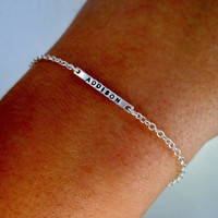 Personalized Bar Bracelet - Delicate, Sterling, Stamped Bracelet