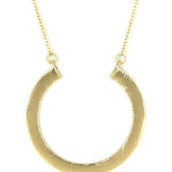 Long and Large Open Circle Matte Necklace - Gold or Silver