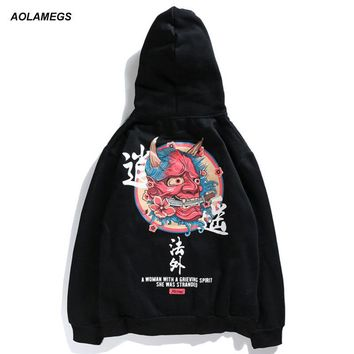 Aolamegs Hoodies Men Ghost Chinese Print Hooded Thick Pullover Sweatshirt Men High Street Fashion Hip Hop Autumn Streetwear