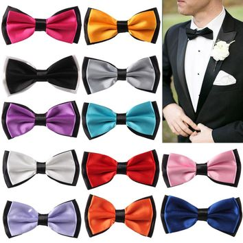 NEW Mens BowTie  Wedding Diamond Necktie Adjustable Party ties Butterfly For marry business gift  colorful decoration PSJ014-1