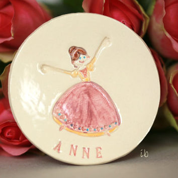 Princess Ceramic Plate Personalized Ceramic Dish Custom Ceramic Flower Girl Ring Dish Pink Pottery