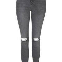 MOTO Grey Ripped Jamie Jeans - Grey